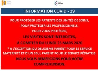 COVID – 19 – VISITES INTERDITES